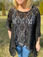 Black Lace Asymmetrical Top - Wild Magnolia