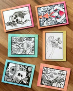 Set of 6 Original Drawing Cards