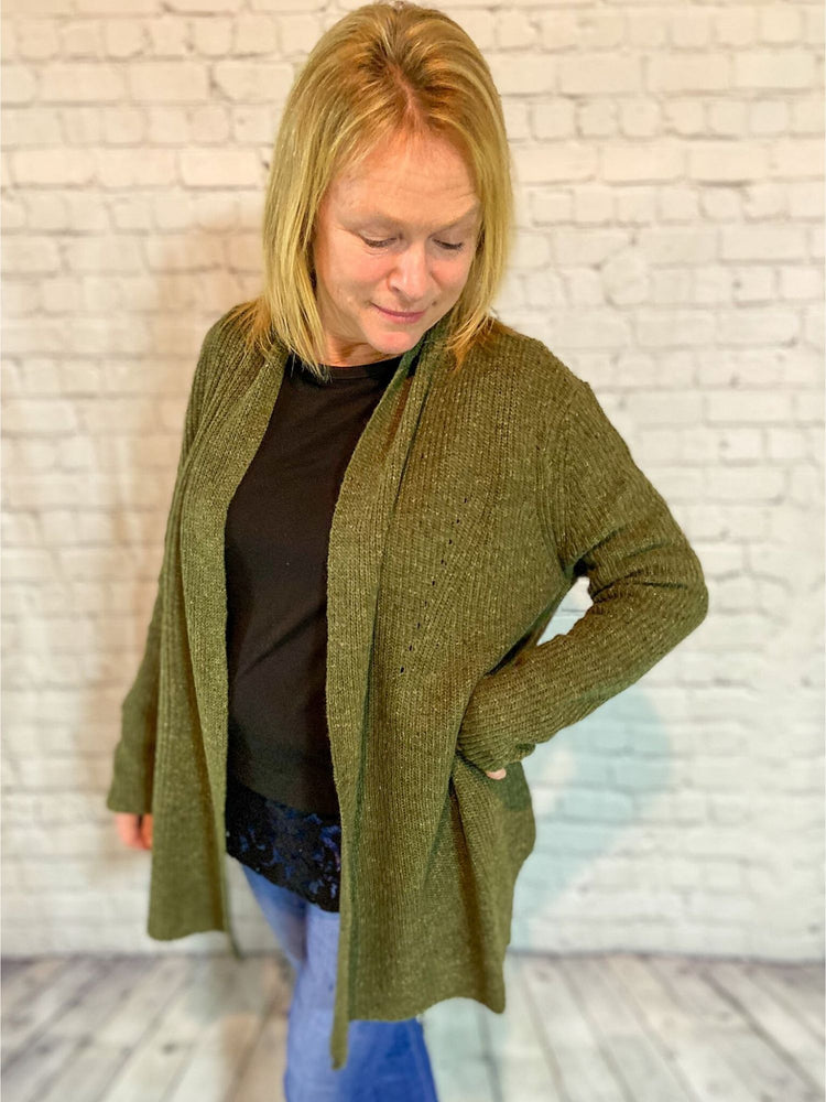 Olive Woven Knit Cardigan