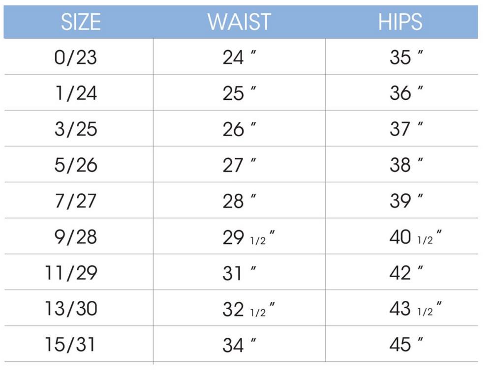 Size chart for our super comfortable paisley jeans.