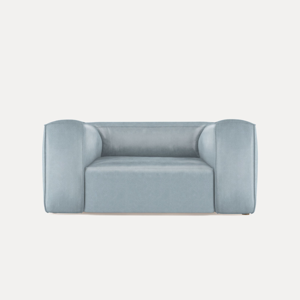 Modern Minimalist Leather Loveseat