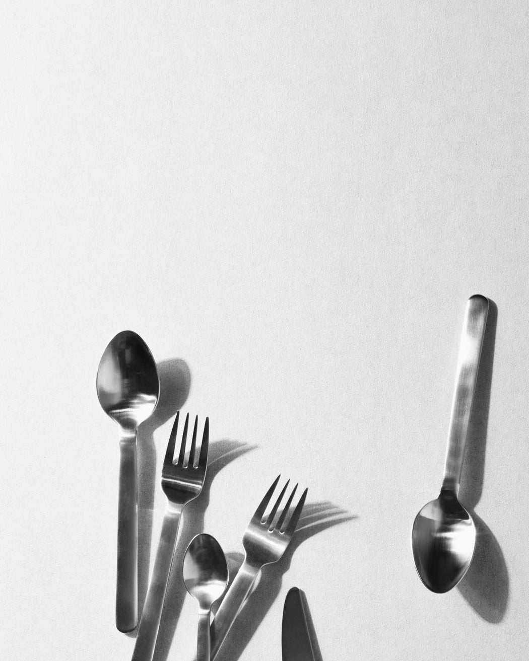 Modern Minimalist Menu New Norm Cutlery, Brushed Steel
