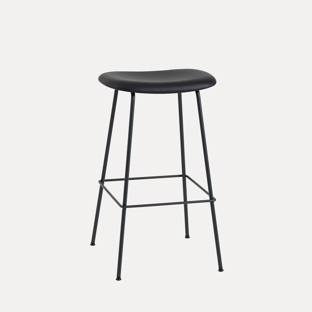 Fiber Tube Leather Bar Stool, Black Leather/Black