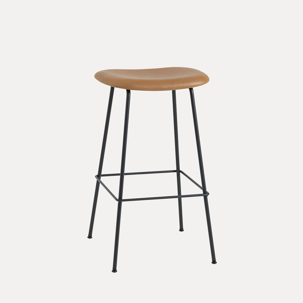 Fiber Tube Leather Bar Stool, Cognac Leather/Black