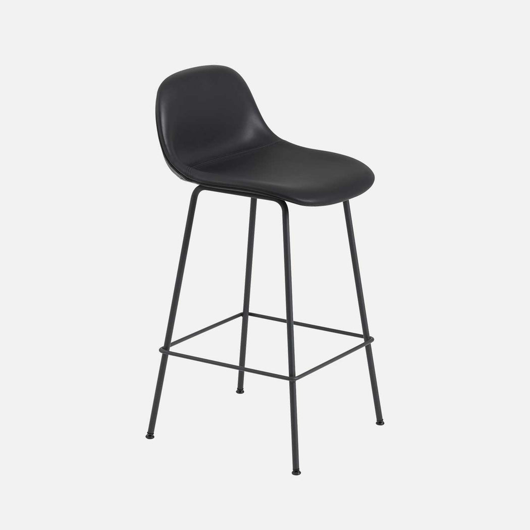 Fiber Tube Leather Counter Stool W, Black Leather/Black