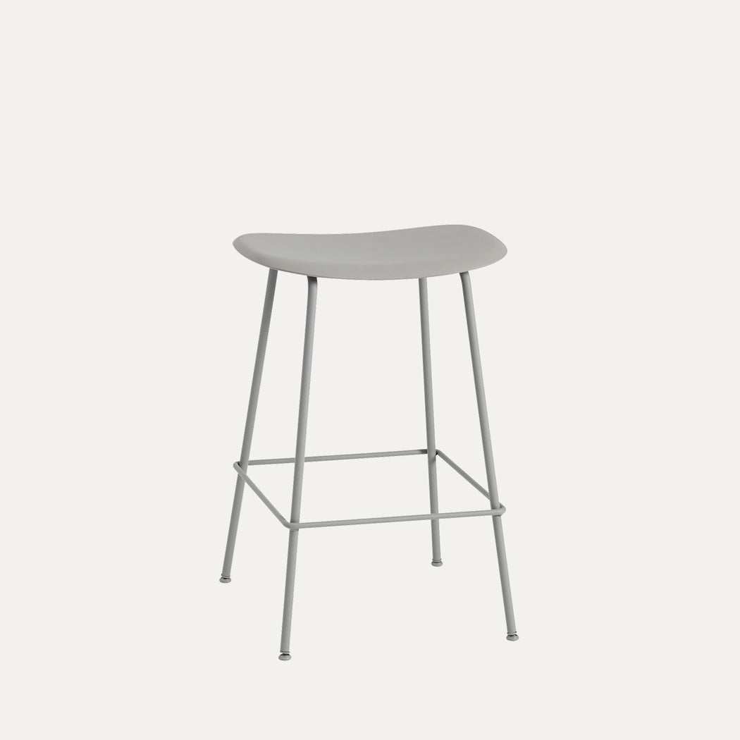 Fiber Tube Counter Stool, Grey/Grey