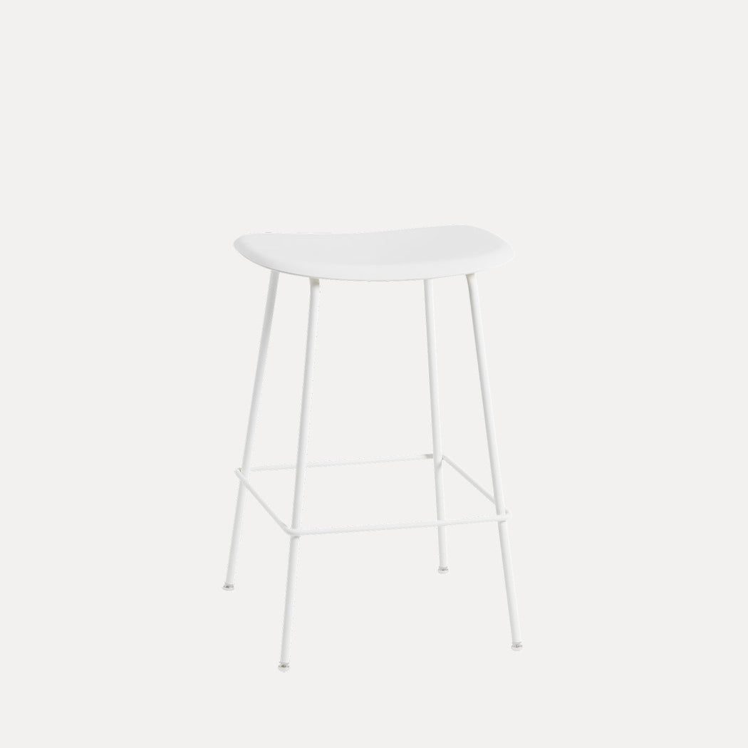 Fiber Tube Counter Stool, Natural White/White