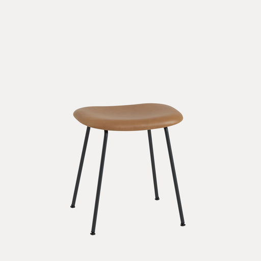 Fiber Tube Leather Stool, Cognac Refine Leather/Black