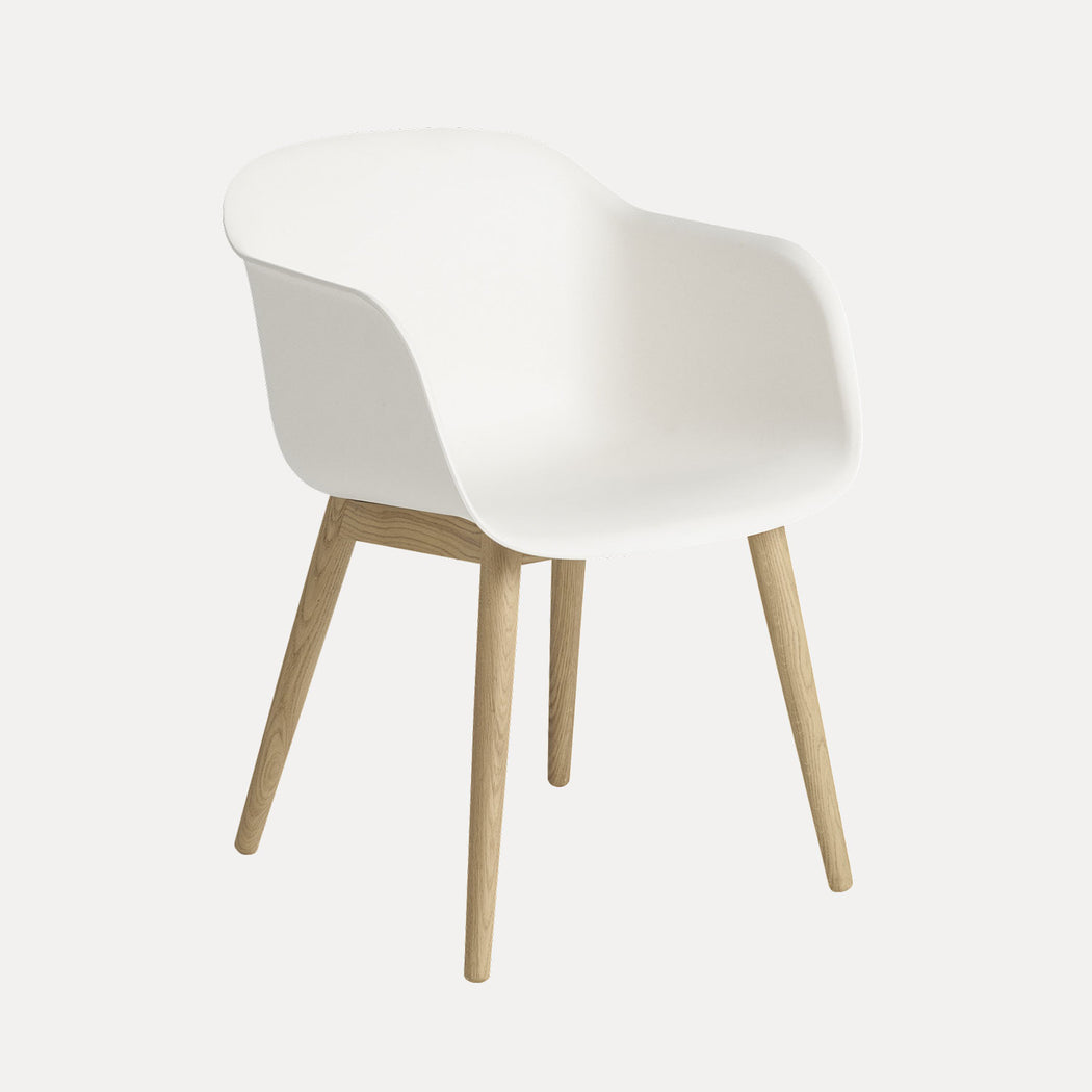 Fiber Wood Armchair, White Fiber/Oak