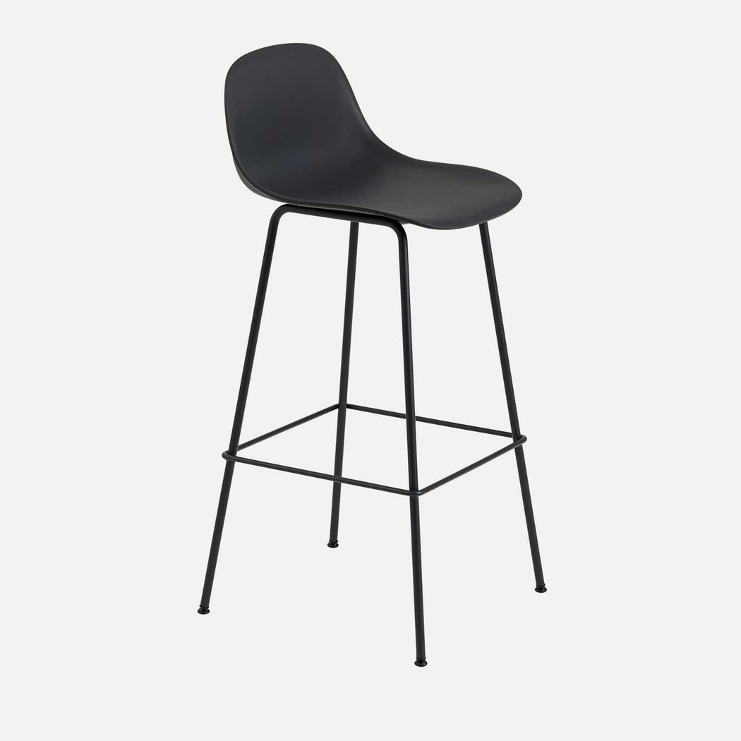 Fiber Tube Bar Stool W Backrest, Black/Black
