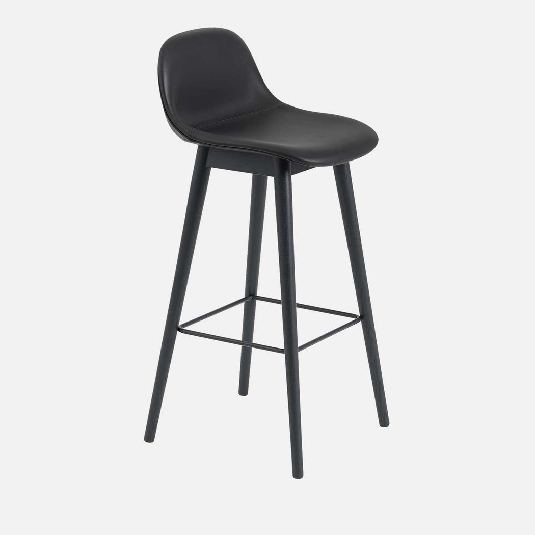 Fiber Wood Leather Bar Stool W, Black Leather/Black