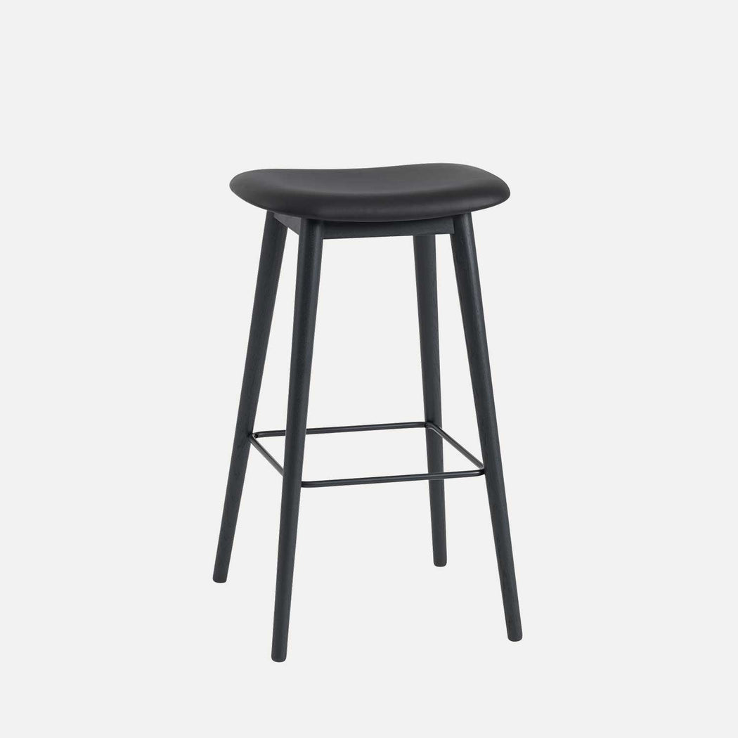 Fiber Wood Leather Bar Stool, Black Leather/Black