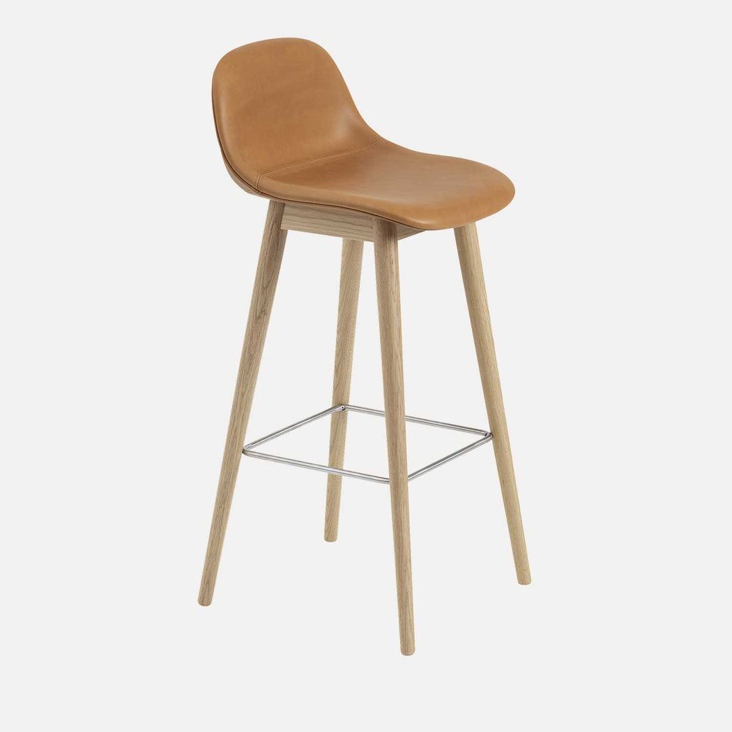 Fiber Wood Leather Bar Stool W, Cognac Leather/Oak