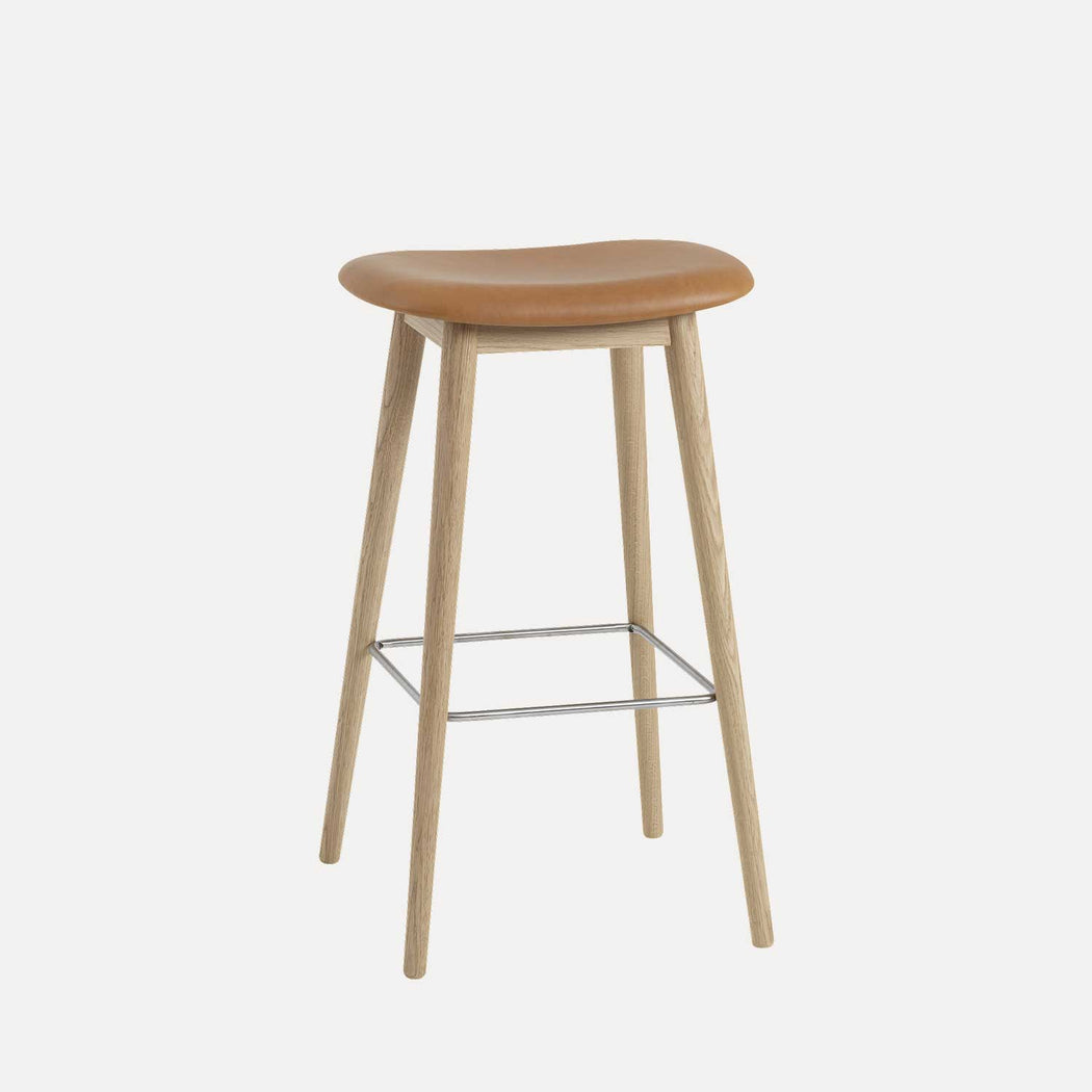 Fiber Wood Leather Bar Stool, Cognac Leather/Oak