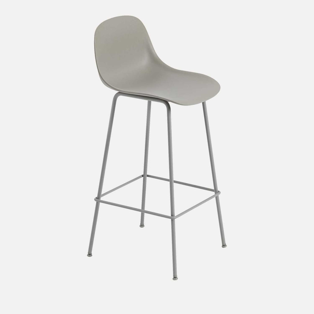 Fiber Tube Bar Stool W Backrest, Grey/Grey