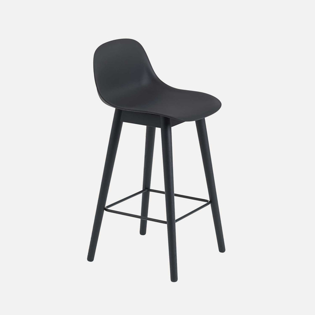 Fiber Wood Counter Stool W Backrest, Black Fiber/Black