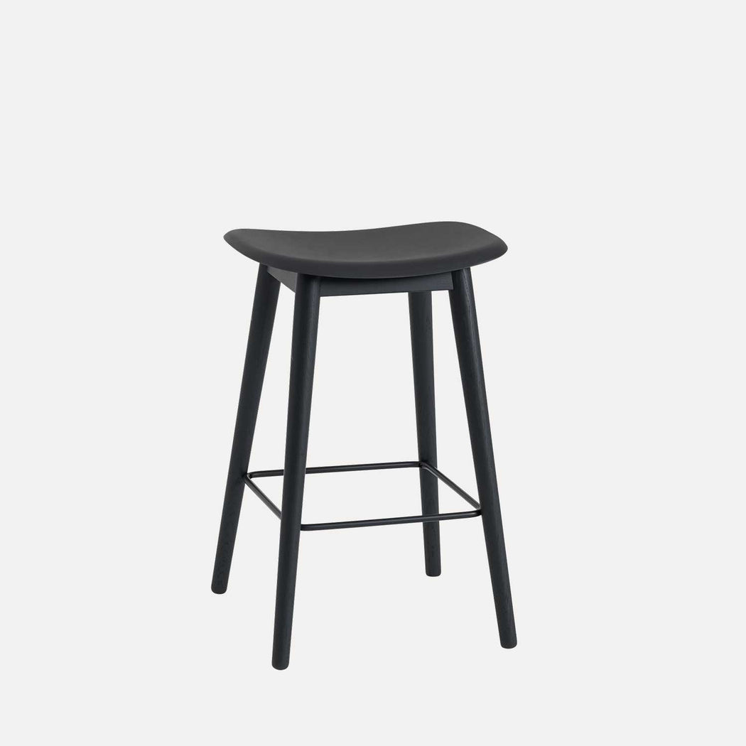 Fiber Wood Counter Stool, Black Fiber/Black
