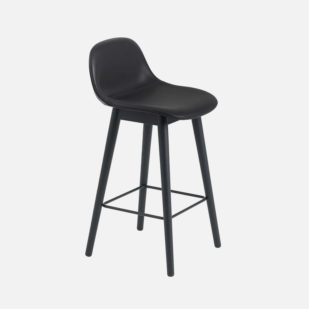 Fiber Wood Leather Counter Stool W, Black Leather/Black