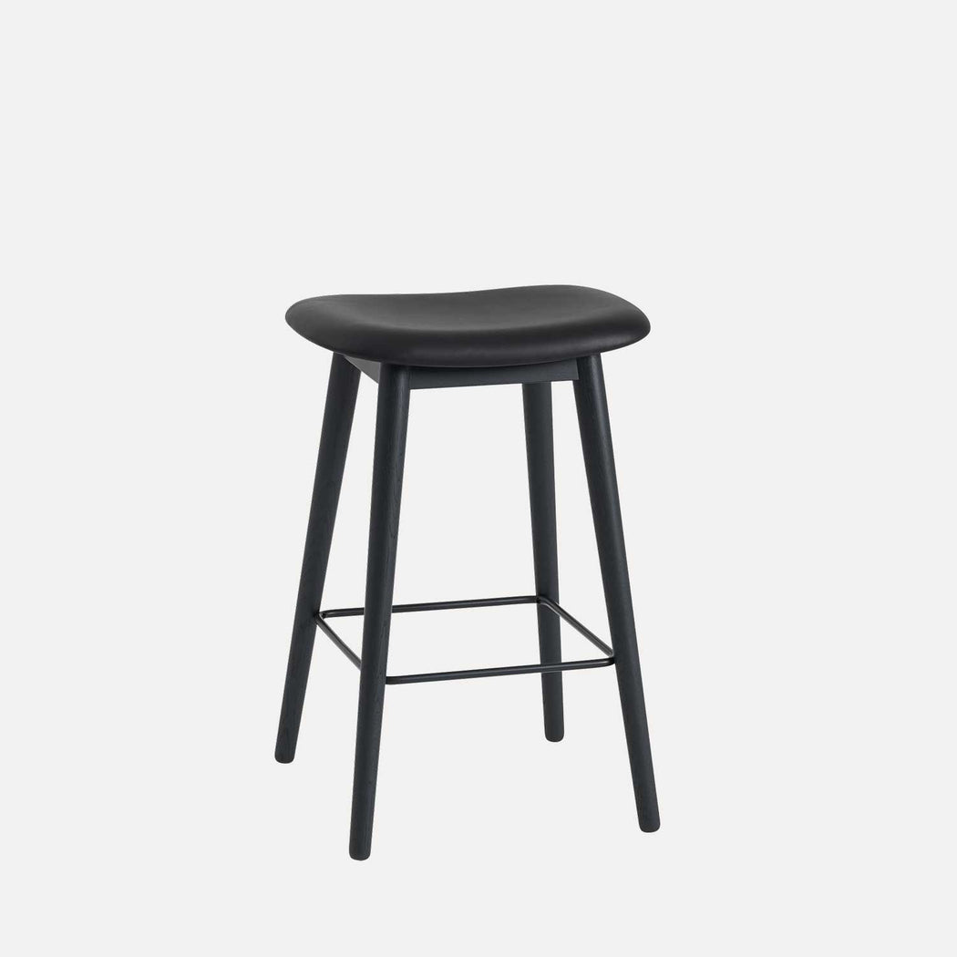 Fiber Wood Leather Counter Stool, Black Leather/Black