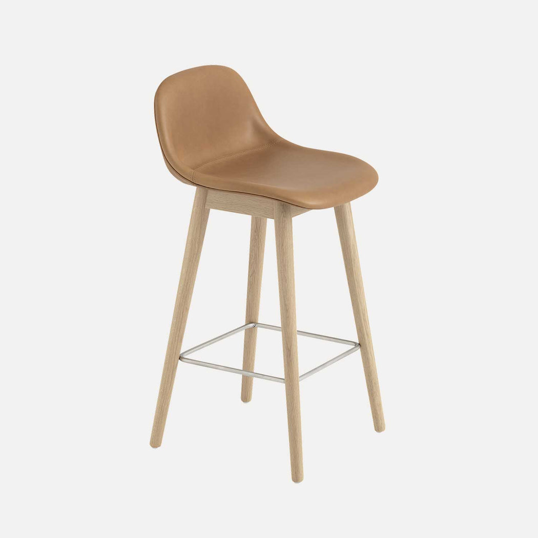 Fiber Wood Leather Counter Stool W, Cognac Leather/Oak