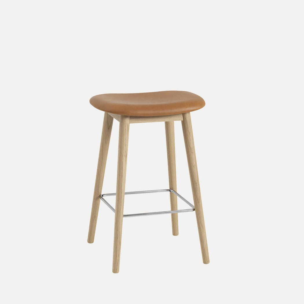 Fiber Wood Leather Counter Stool, Cognac Leather/Oak