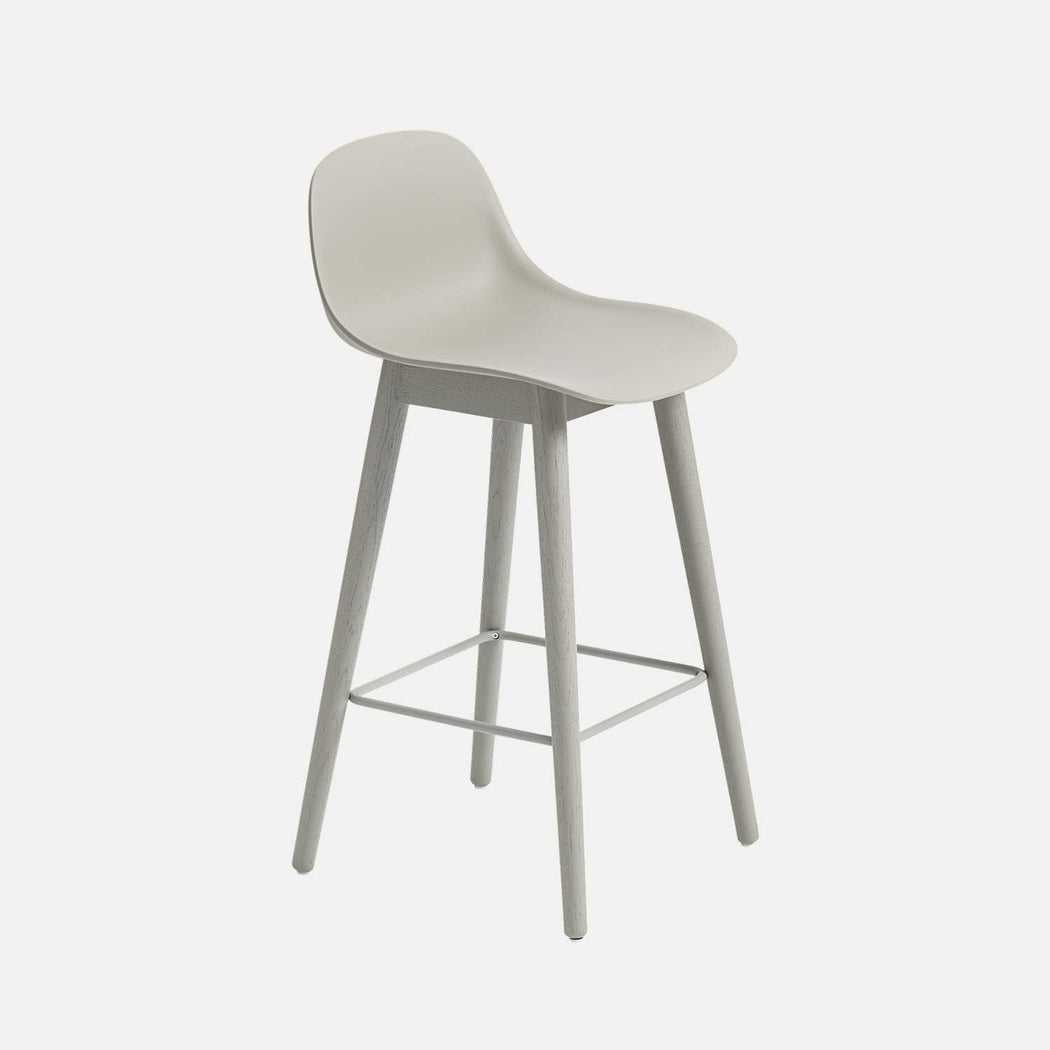 Fiber Wood Counter Stool W Backrest, Grey Fiber/Grey