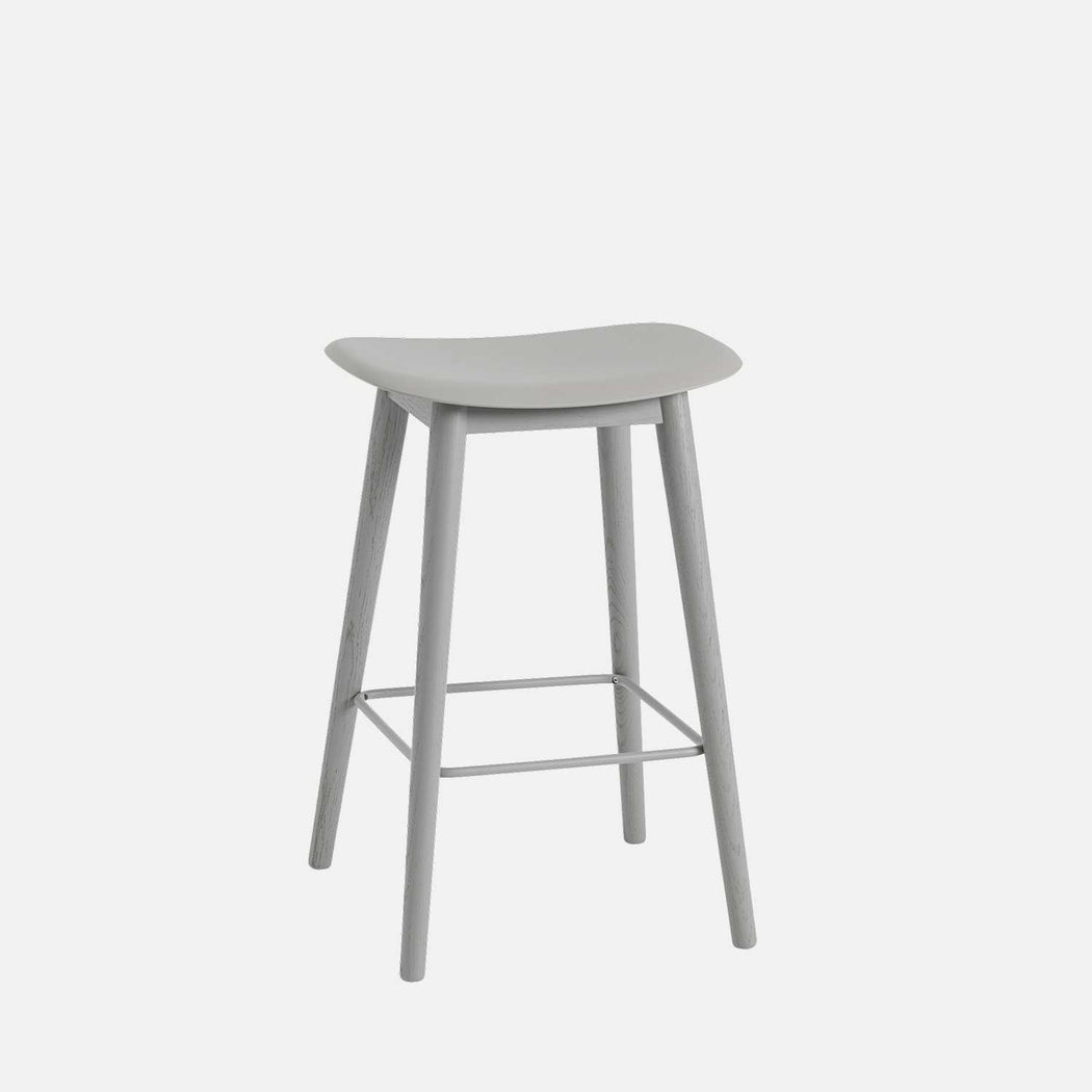 Fiber Wood Counter Stool, Grey Fiber/Grey