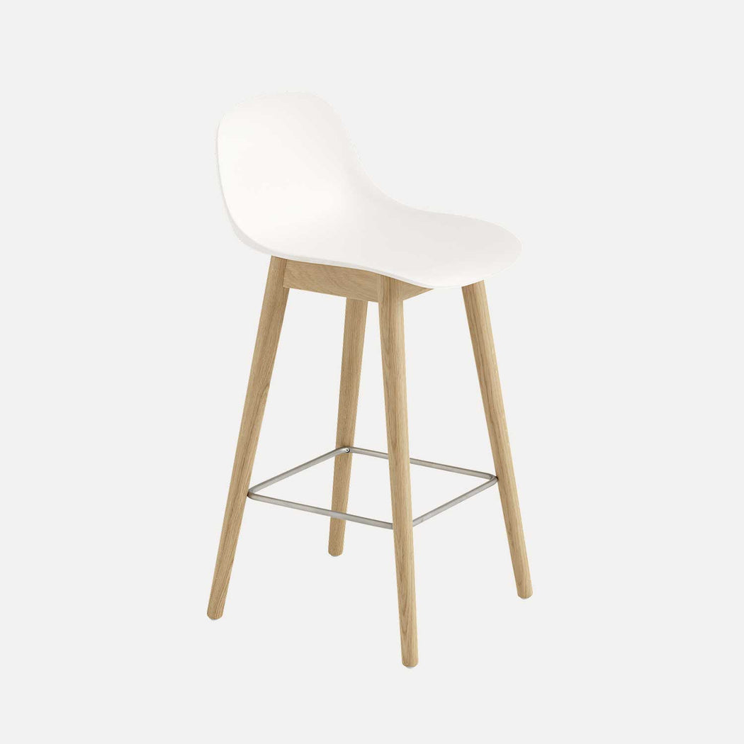 Fiber Wood Counter Stool W Backrest, White Fiber/Oak