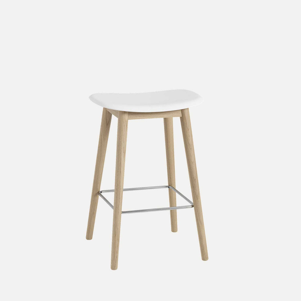 Fiber Wood Counter Stool, White Fiber/Oak