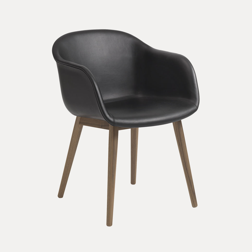 Fiber Wood Leather Armchair