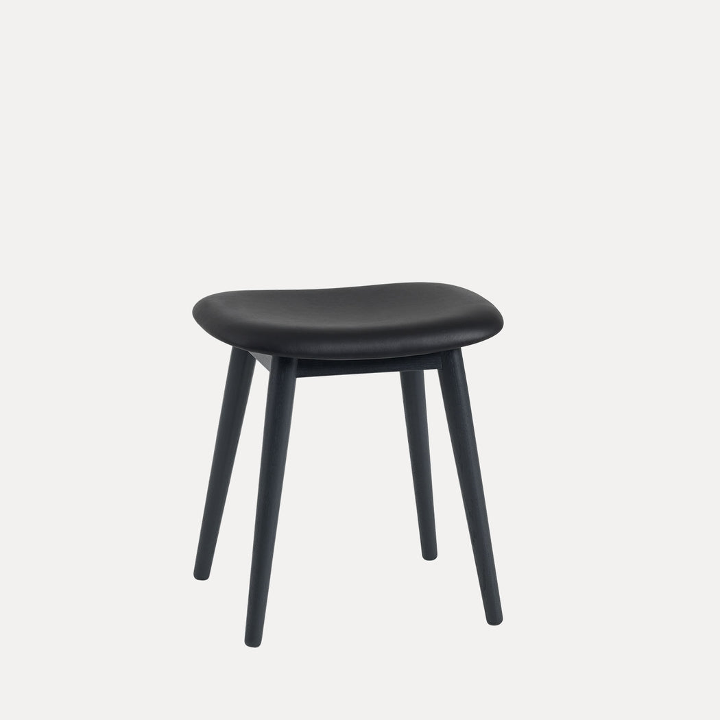 Fiber Wood Leather Stool, Black Refine Leather/Black