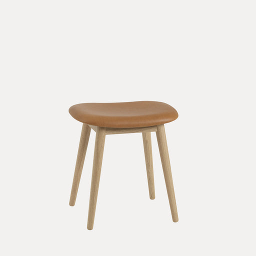 Fiber Wood Leather Stool, Cognac Refine Leather/Oak