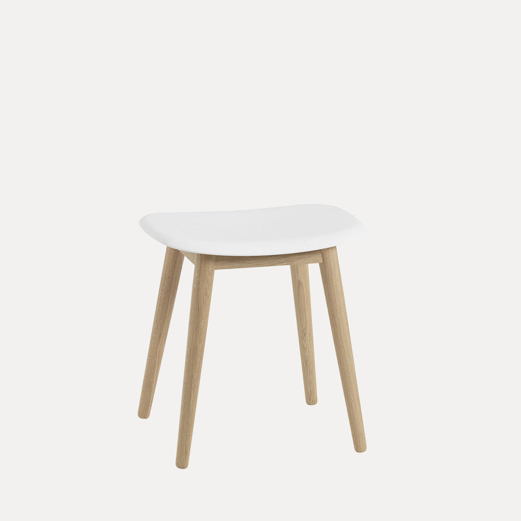 Fiber Wood Stool, White/Oak