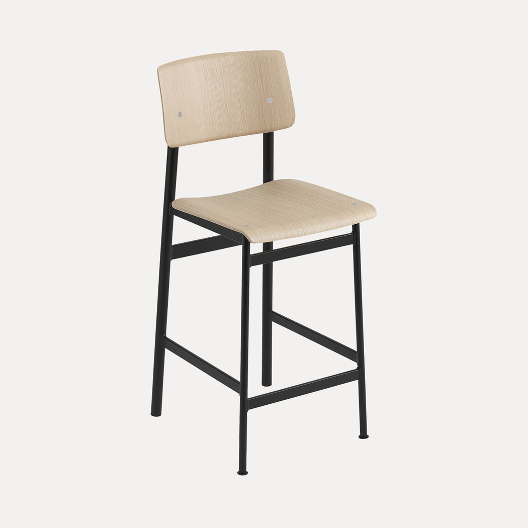 Loft Counter Stool, Black/Oak