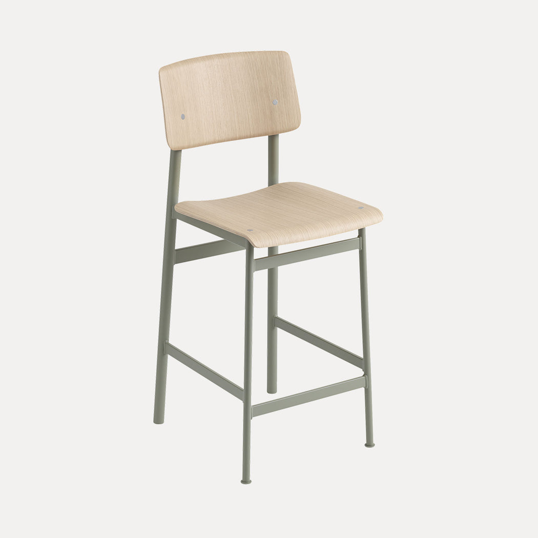 Loft Counter Stool, Dusty Green/Oak