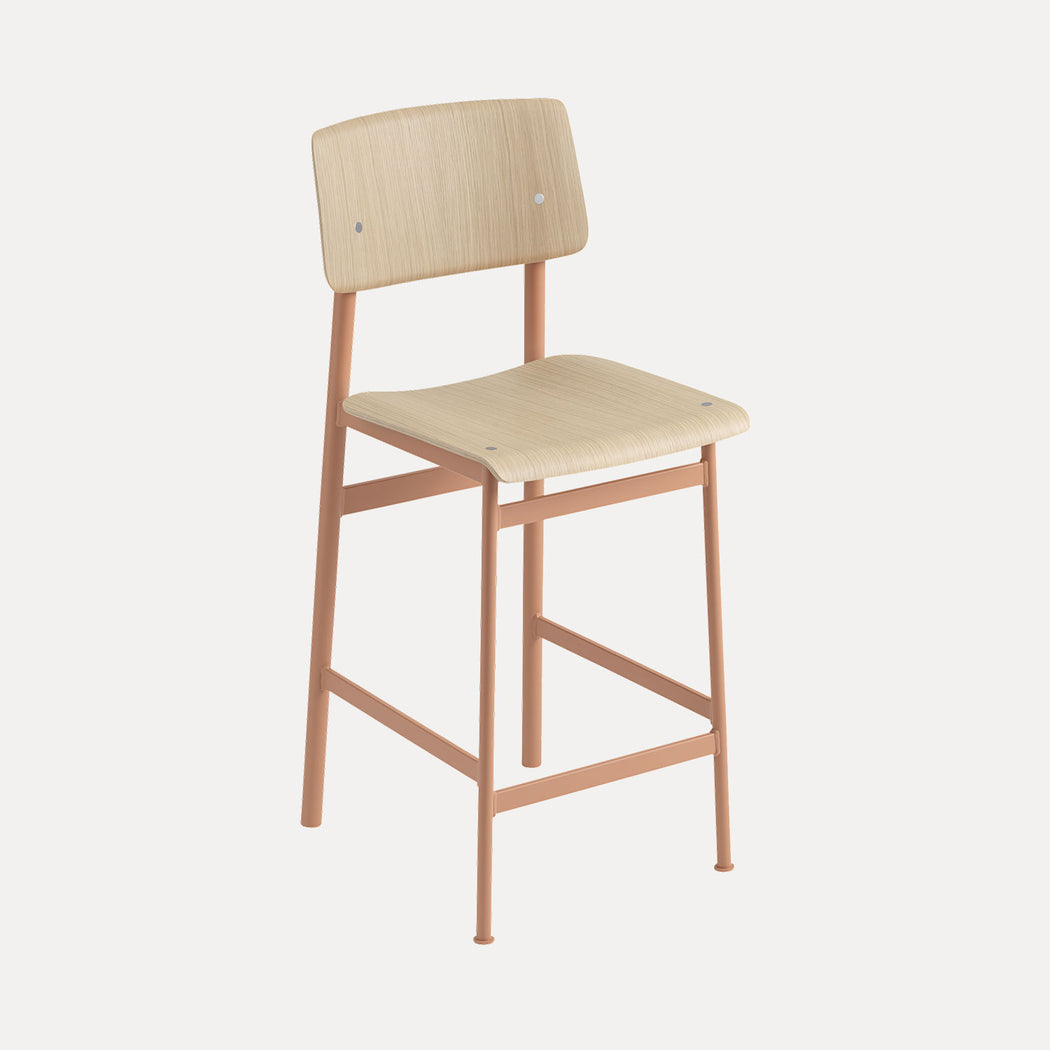 Loft Counter Stool, Dusty Rose/Oak