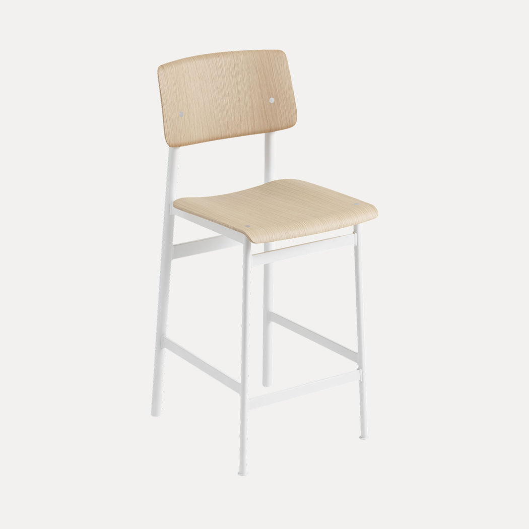 Loft Counter Stool, White/Oak