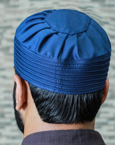 Pleated Ocean Blue Kufi