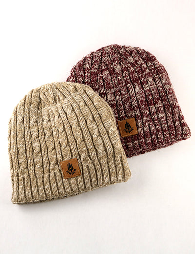 BURGUNDY AND NATURAL SPECKLED BEANIE