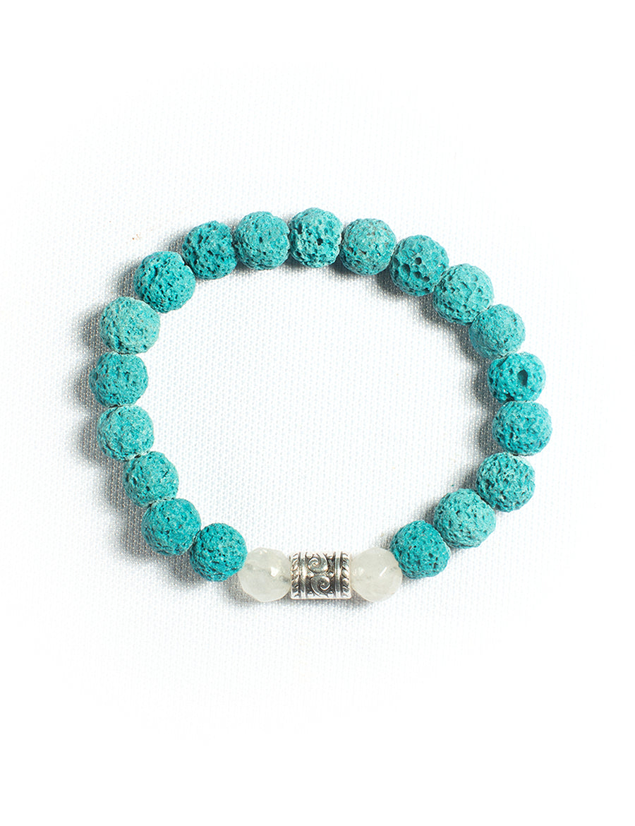 Marine Lava Stone Essential Oil Diffuser Bracelet with Quartzite & Antiquated silver