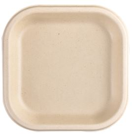 7'' SNACK PLATE - Compostable Bagasse (Sugarcane Pulp) Plates - Pack of 25, 50 or 125