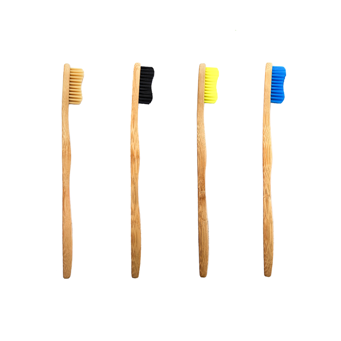 Biodegradable Bamboo Toothbrush Four Pack Ð Black, Naurel, Limon, Azure.