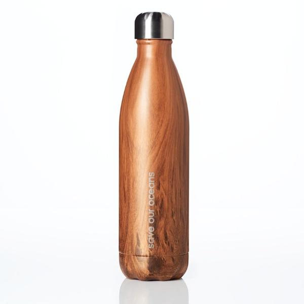 Insulated Stainless Steel Bottle 500ml - Woodgrain