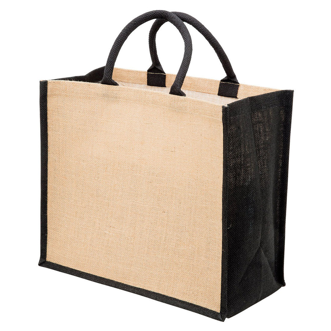 100% Natural Jute Shopping Bag - Black