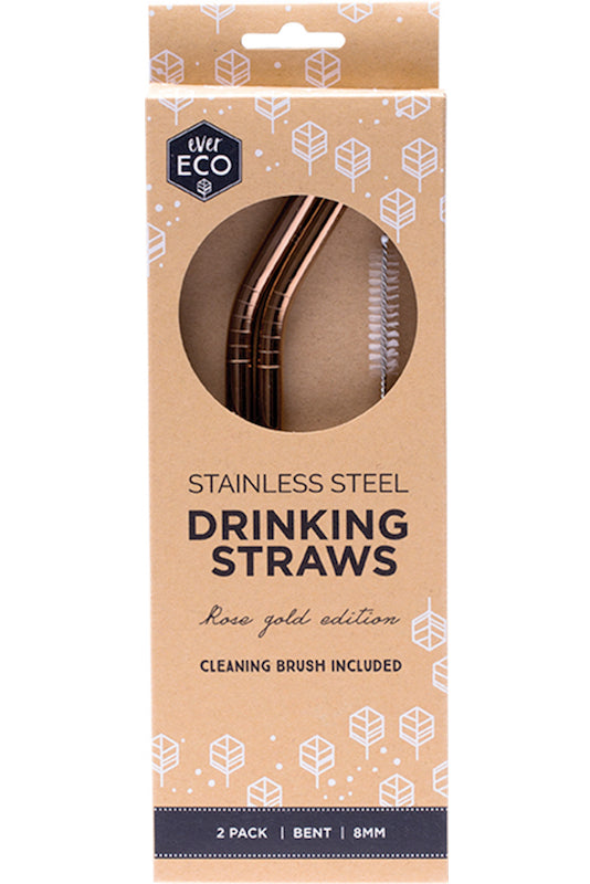 Ever Eco Stainless Steel Straws Bent- 2 Pack+Brush - Rose Gold