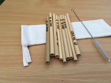 Bamboo Straws - Cocktails (15 cm) - Pack of 3 with cleaning brush and drawstring bag (Wholesale available)