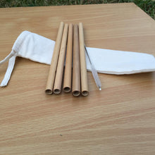 Bamboo Straws - Juice, ice coffee and tea (20 cm) - Pack of 3 with cleaning brush and drawstring bag (Wholesale available)