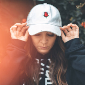 Rose Dad Hat - White