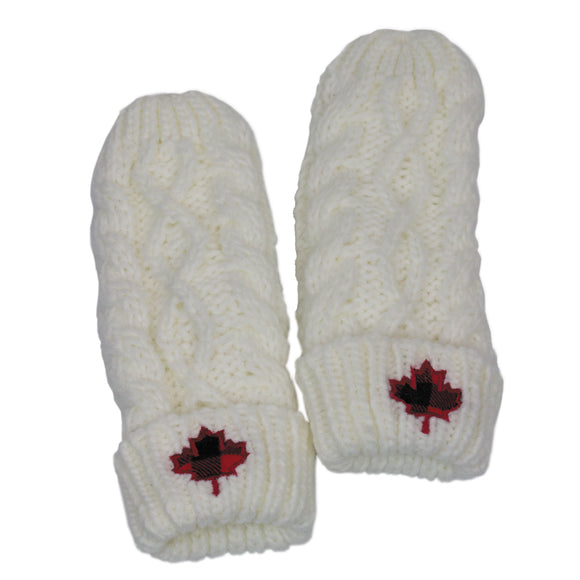 Cream Cable Mittens With Plaid Leaf - Flamingo Boutique