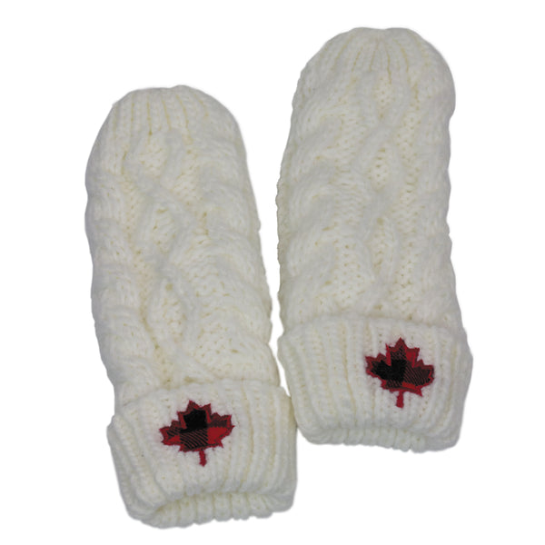 CABLE KNIT MITTENS WITH PLAID LEAF